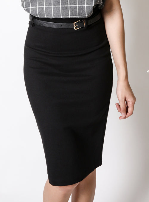 Leona Pencil Skirt in Jet Black