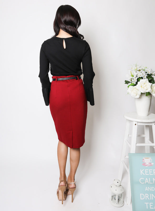 Leona Pencil Skirt in Wine Red