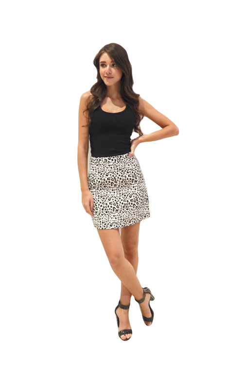 Miss Seventythree Leopard Print Skirt in White