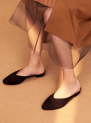 Julia Mules in Brown Suede