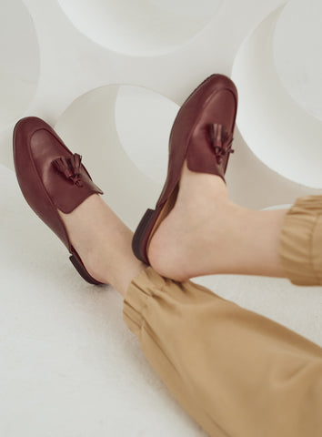 Saddie Mules in Tan
