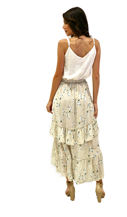 Miss Seventythree Patterned Tiered Skirt in Beige