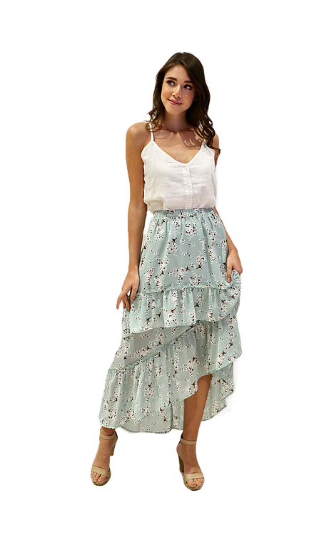 Miss Seventythree Patterned Tiered Skirt in Mint