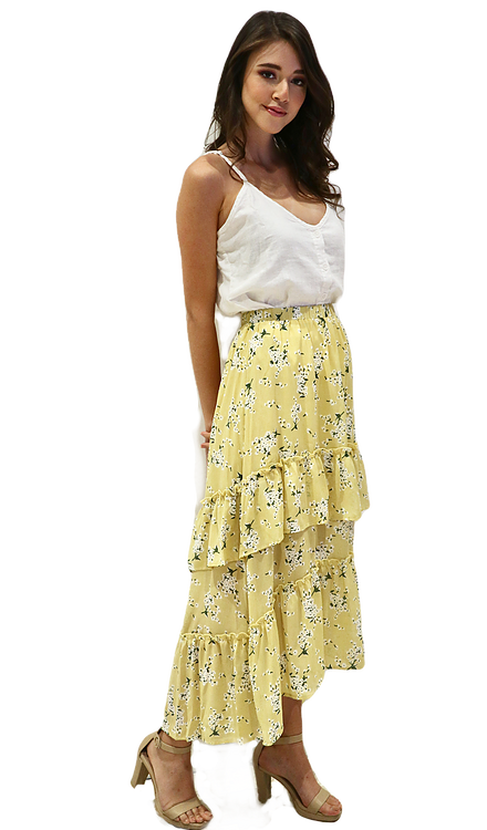 Miss Seventythree Patterned Tiered Skirt in Yellow