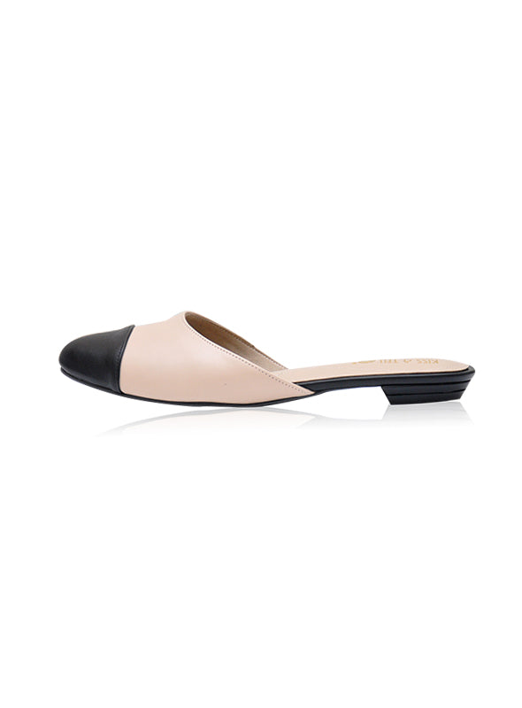 Quinn Flats in Nude & Black
