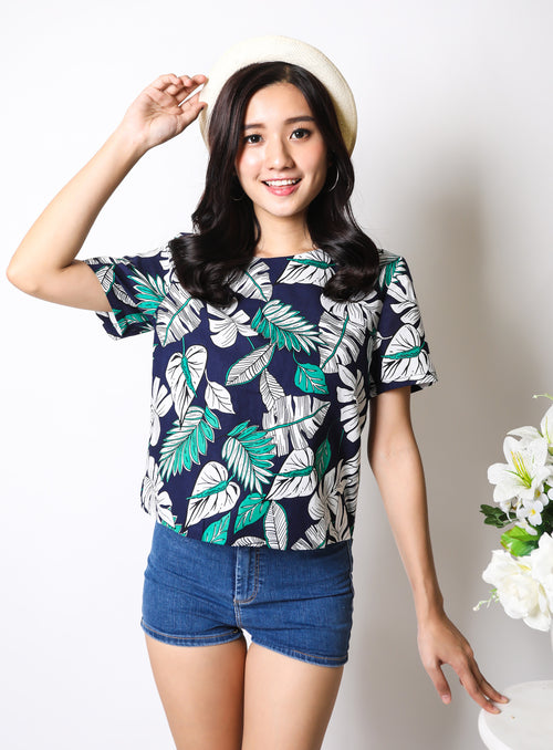 Reina Top in Palm Print