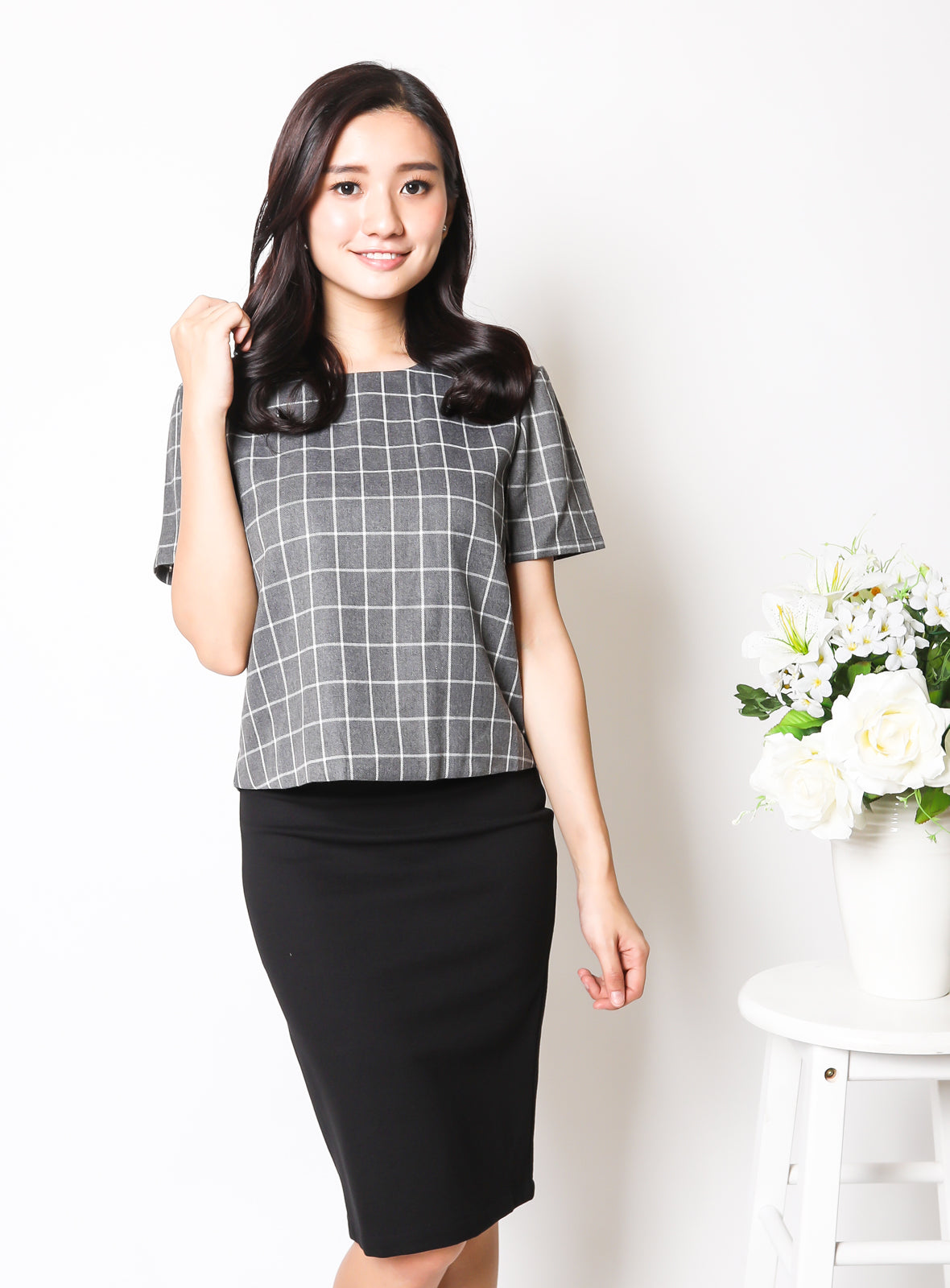 Reina Top in Checkered Print