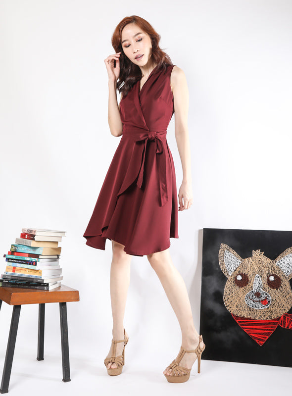 Sabrina Dress in Burgundy