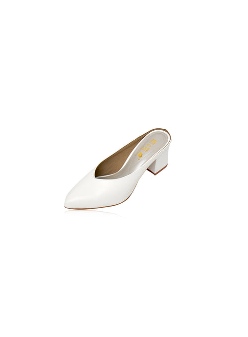 Saddie Mules in White