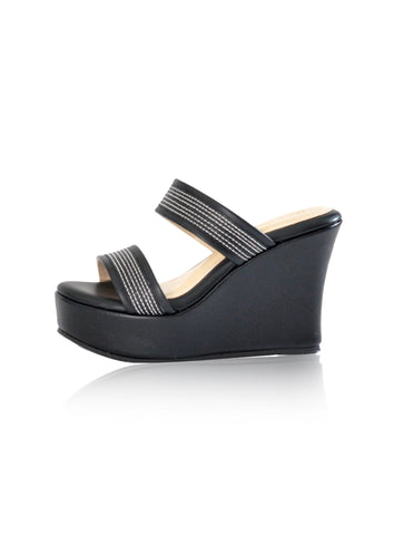 Elizabeth Wedges in Pewter & Black Lace