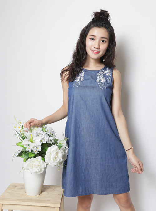 Summer Dress in Dark Denim