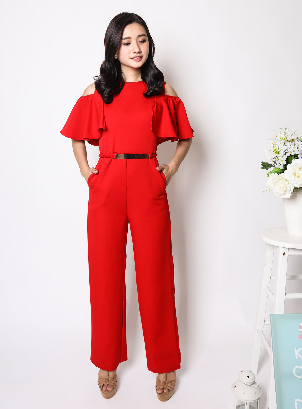 Yuna Jumpsuit in Luscious Red