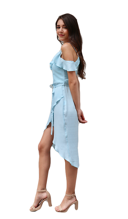 Miss Seventythree Chiffon Midi Dress in Light Blue