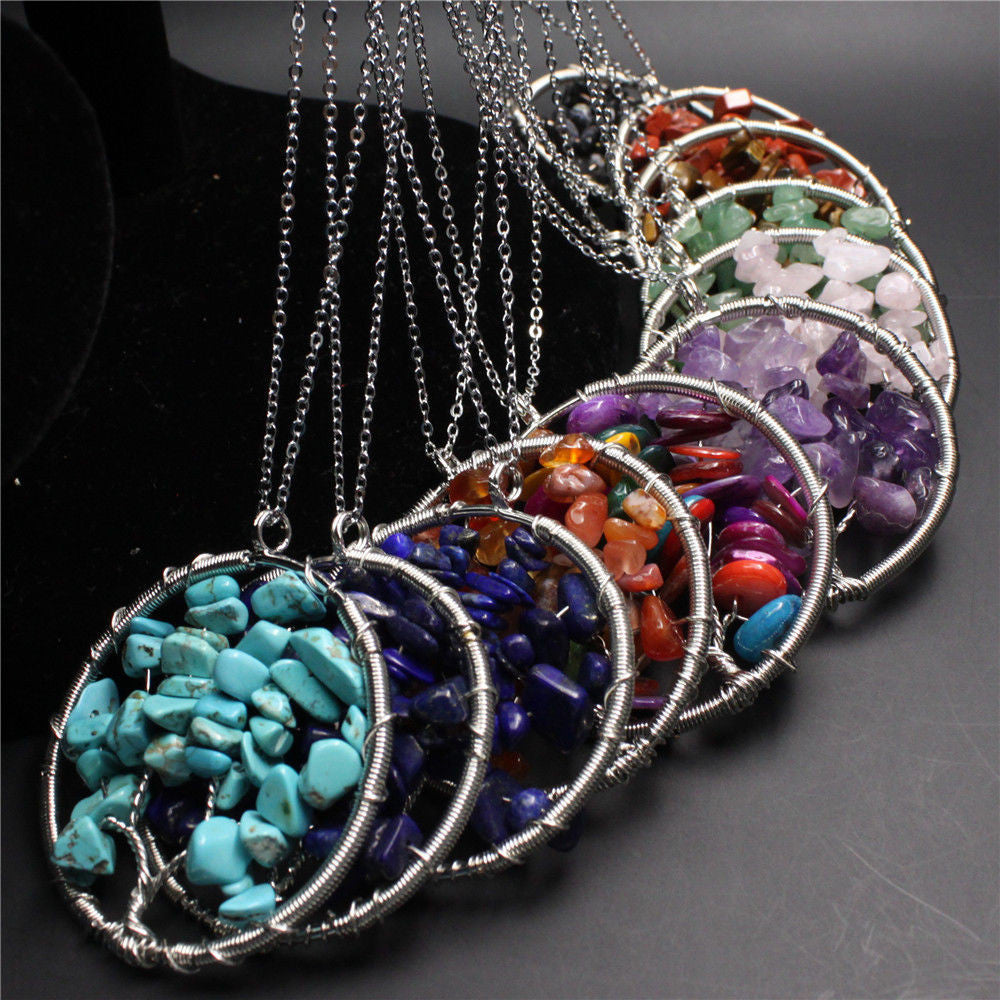 7 Chakra Reiki Life Tree Necklace Pendant