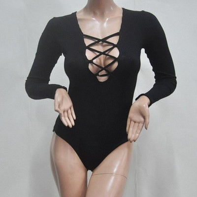 """Sammy"" New Fashion Deep V-Neck Knitted Bodysuit"
