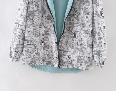 """Raelynn"" Women Bomber Cartoon Reversible Jacket"