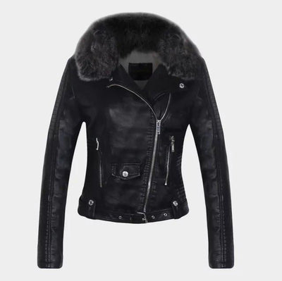 """Brielle"" Detachable Fur Collar Warm Faux Leather Jacket"