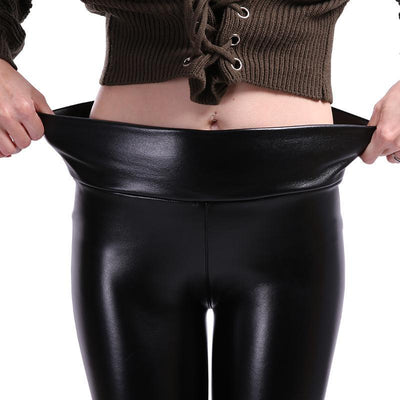 """Cathy"" High Waist Leather Leggings"