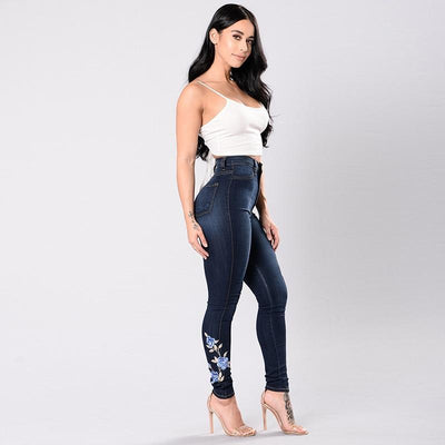 """Quinn"" Elastic Jean Pencil Denim Flower Embroidered"