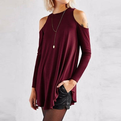 """Zenny"" Loose Tunic Off-Shoulder Long Sleeve Blouse"