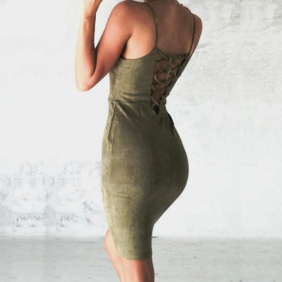 """Taylor"" Backless Lace Up Suede Dress"