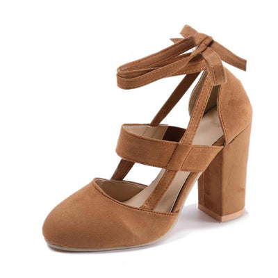 """Kathryn"" Ankle Strap Thick Heel Fashion Sandals"