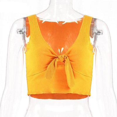 """Abhie"" Cool Ribbed Bow Crop Top"