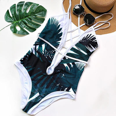 Tropical Thunder --Classy and Elegant, Criss-Crossed One-Piece