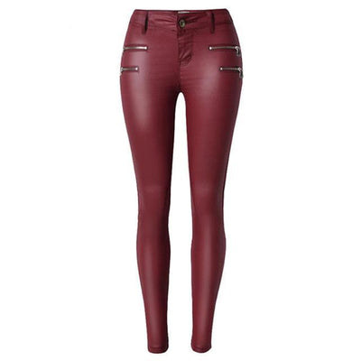 2019 Sleek-2 Vegan Mid to High-Waisted Eco-Leather Leggings