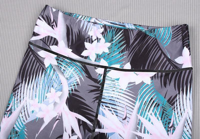 """Catherine"" Slim Flower Leaf Print Leggings"