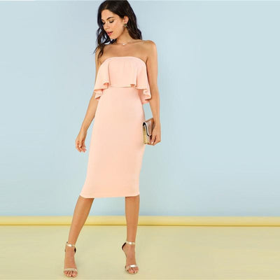 """Denise"" Flounce Bandeau Pencil-Cut Ruffle Dress"