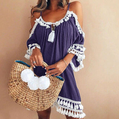 """Sophie"" Exotic Beach Tassel Boho Dress"