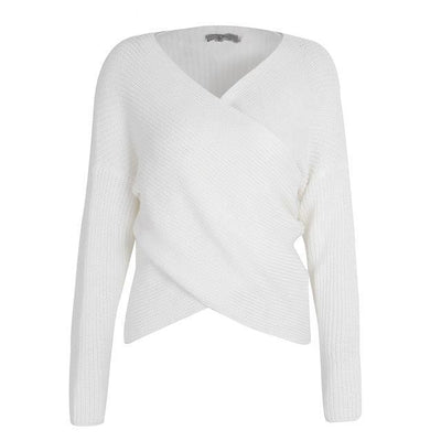 """Aubrey"" Simple V-Neck Cross Knitted Winter Sweater Women"