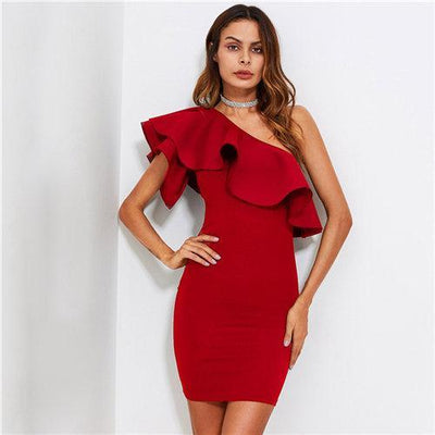 """Ellyse"" Red Ruffle Flounce One Shoulder Bodycon Dress"