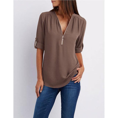 """Darlene"" Summer Chiffon Blouse Long Sleeve Casual"