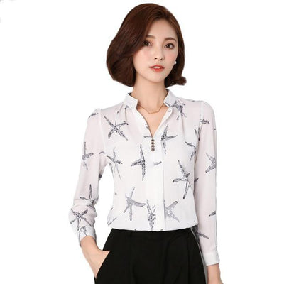 """Althea"" V-neck Long Sleeve Chiffon Blouse"