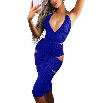 """Caly"" Super Hot Bodycon Halter Deep V-Neck Dress"