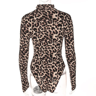 """Rae"" Sexy High Collar Leopard Long Sleeve Bodysuit"