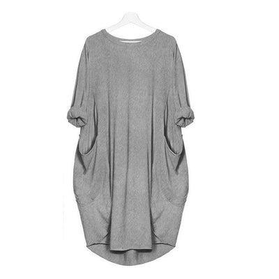 """Alyssa"" Fashion Pocket Loose Dress Ladies Solid Crew Neck"