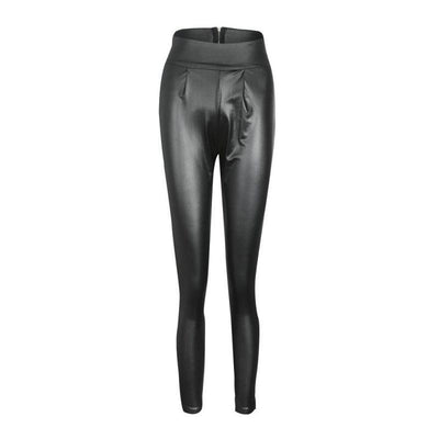 """Ciara"" Classy Thin Faux Leather Stretchy Leggings"
