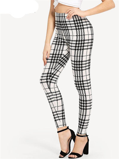 """Alondra"" Office Lady Plaid Skinny Trousers"