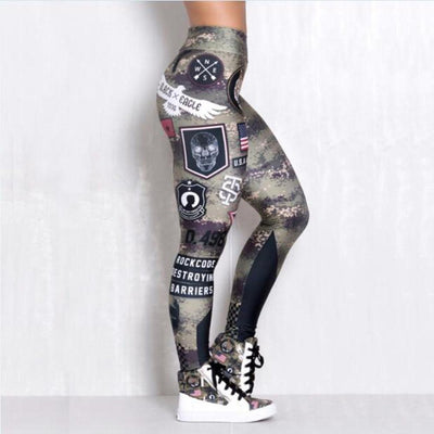 """Leslie"" Elastic Army Printed Fitness Leggings"
