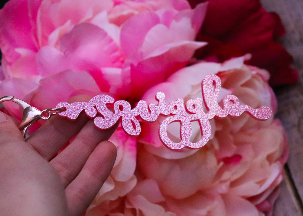 Squiggle Yarn Co. Keyring - Sparkle Pink