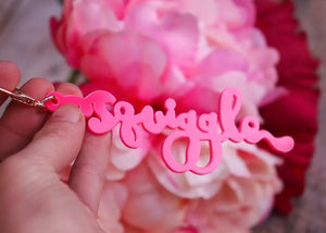 Squiggle Yarn Co. Keyring - Power Pink