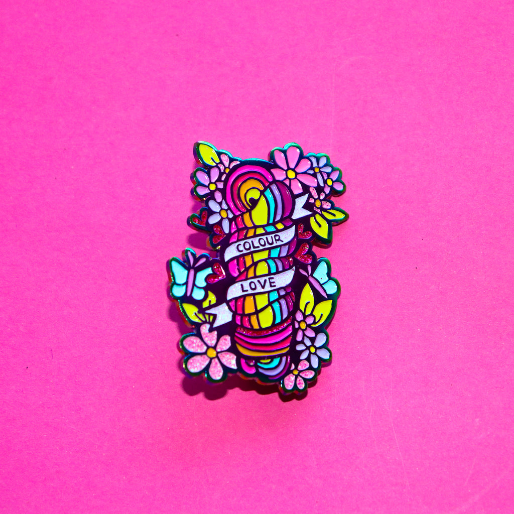Squiggle Yarn Co. 'Colour love' Enamel Pin - Iodized