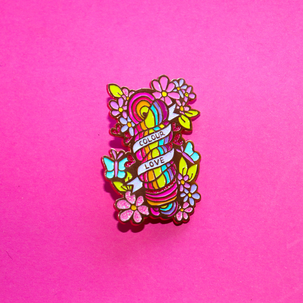 Squiggle Yarn Co. 'Colour love' Enamel Pin - Gold