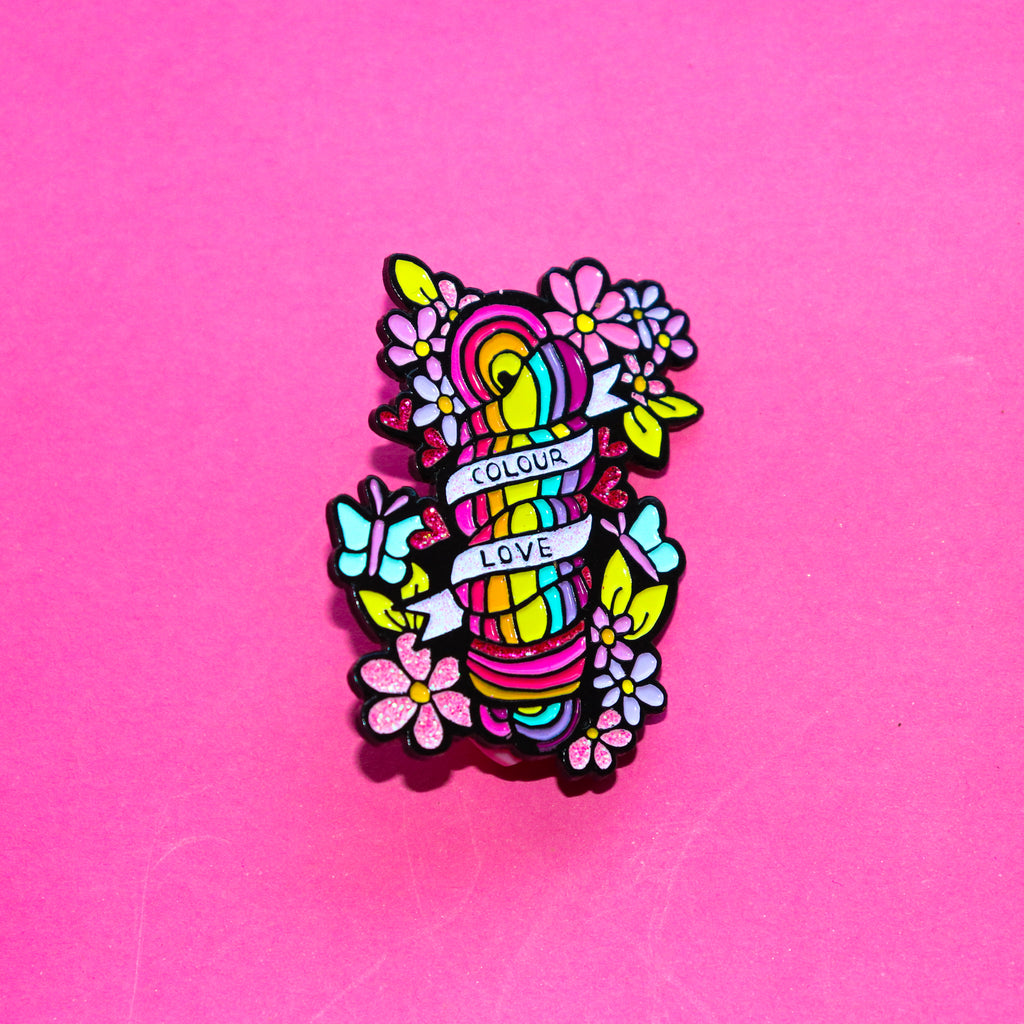 Squiggle Yarn Co. 'Colour love' Enamel Pin - Black