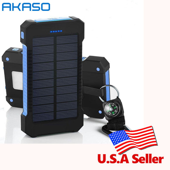 100% Original Waterproof Solar 10000mah Dual USB Mobile Solar Charger Waterproof for All Phone With a compass retail package