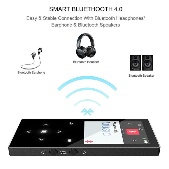 16Gb Touch Button Bluetooth Mp4 Music Player Built-In Speaker Quality Sound Lossless Video With Fm Supports Micro Sd Card - $45.00
