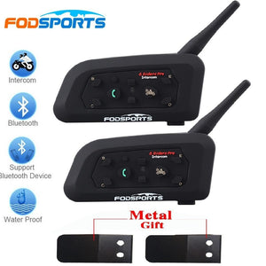 2018 Fodsports 2 Pcs V6 Pro Motorcycle Helmet Bluetooth Headset Intercom 6 Riders 1200M Wireless Intercomunicador Bt Interphone - $84.00